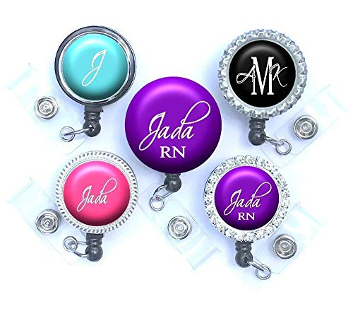 - Custom Retractable Badge Reel Personalized with Name, Monogram, Occupation Title - Script Font in 10 Color Choices, Available in Belt, Swivel or Lanyard