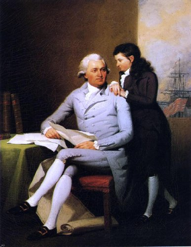 """John Trumbull Jeremiah Wadsworth and His Son Daniel Wadsworth - 21.05"""" x 28.05"""" Peel & Stick Removable Wall Decal"""