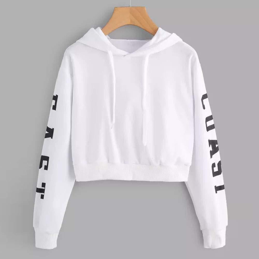 JIAJU-DJ Womens Letters Long Sleeve Hoodie Sweatshirt Pullover Tops Blouse