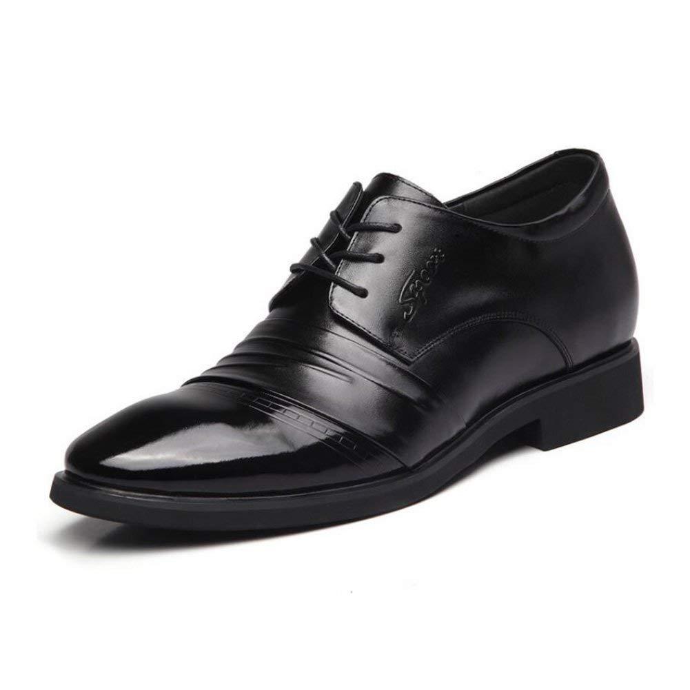FuweiEncore Frühling Business-Schuhe, Herren Leder Formale Schuhe, Spitze Zehenschuhe, Erhöhte Schuhe, Hochzeits-Party-Kleider Schuhe,schwarz,40 (Farbe   Wie Gezeigt, Größe   Einheitsgröße)