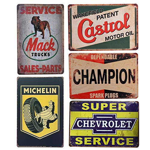Pack of 5 pcs Retro Vintage Advert Tin Signs, Mack/Michelin/Castrol/Champion/Chevrolet Metal Posters for Garage Man Cave Bar, 8x12 ()