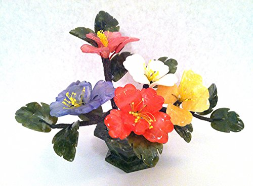 Stone Carving Artificial Jade & Glass Flower Basket Bonsai Tree style with Tea Tree Floral Design