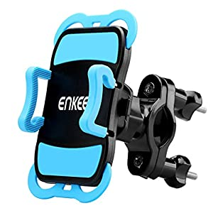 "Enkeeo Bike Mount Universal Motorcycle Cell Phone Holder Cradle with 360 Degree Rotation, Rubber Grips for iPhone 7/ 7 Plus/ 6S/ 6S Plus, Samsung Galaxy S7/ S6 S5 and GPS Device Up to 3.7"" Wide"