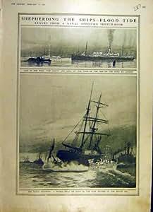 1917 Impresión Vieja Naval de la Marina de guerra del Bote patrulla de la Guerra de las Naves Ww1