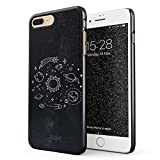 Glitbit iPhone 7 Plus/8 Plus Case Cute Solar System Galaxy Stars Planet Sun Earth Moon Universe Cosmic Cosmos Space Tumblr Thin Design Durable Hard Shell Plastic Protective Case Cover