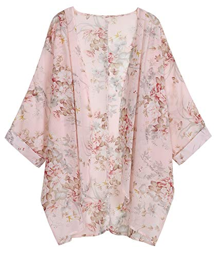 Bat Sleeve Women Sweaters - OLRAIN Women's Floral Print Sheer Chiffon Loose Kimono Cardigan Capes (Medium, Light Pink2)