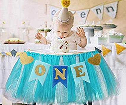 Kaptin Baby 1st Birthday Baby Gold Pink Tutu Skirt and Banner for High Chair Decoration for Party Supplies (Blue)