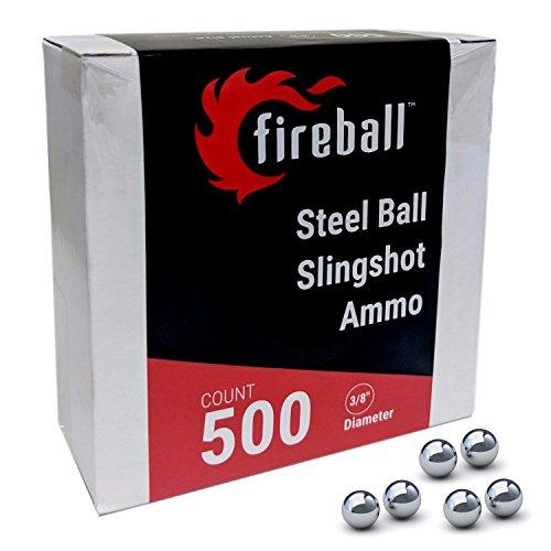 Fireball Steel Slingshot Ammo Precision 3/8'' Balls (500 Count) by Fireball