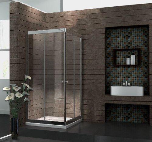 6 mm Duschkabine Duschabtrennung Eck-Dusche Schiebetür 80 x 80 x 195 cm SLIDE ohne Duschtasse