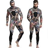 Sportmars Man Spearfishing Camouflage Wetsuits 3mm Neoprene 2-Pieces Hoodie Snorkeling Full Suits