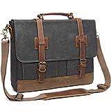 Messenger Bag for Men 15.6inch Waterproof Waxed Canvas Genuine Leather Briefcase Computer Laptop Bag Large Satchel Shoulder Bag Grey