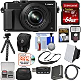 Panasonic Lumix DMC-LX100 4K Wi-Fi Digital Camera (Black) with 64GB Card + Case + Flash + Soft Box + Battery + Tripod + Strap + Kit