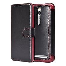 "Asus Zenfone 2 Case, Tisuns [Layered Dandy] Asus Zenfone 2 Wallet Case [Wallet Case] [Slim] Premium Protective Case Wallet Leather Case for Zenfone 2 (5.5 "") ZE550ML / ZE551ML (Black)"