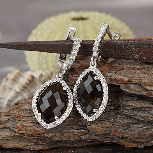 - Sterling Silver Cushion Cut Smoky Quartz Earrings Turkish Victorian Jewelry