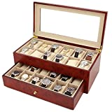 Watch Box Large for 24 Watches Wood XL Wide Compartments Fits 66mm Watches (Cherry)