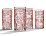 Jax Highball Beverage Glass Cup by Godinger – Pink – Set of 4