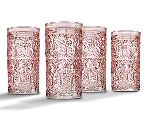Beverage Highball (Jax Highball Beverage Glass Cup by Godinger – Pink – Set of 4)