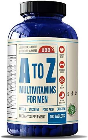 A to Z Multivitamin and Multimineral Supplment for Men - Vitamins A C D E K B1 B2 B6 B12. Magnesium, Calcium Biotin, Potassium, Zinc - Antioxidant Properties for Heart & Immune Health (100 Count)