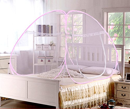 Pindia Mosquito Net Double Bed foldable White (Pink Border)