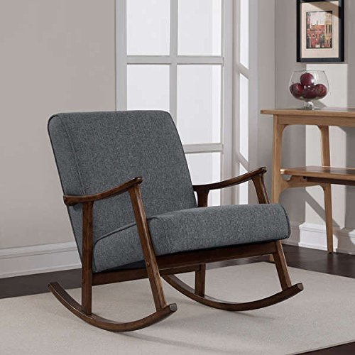 (Casual Mid-Century Granite Grey Fabric Retro Wooden Rocker Accent Chair)