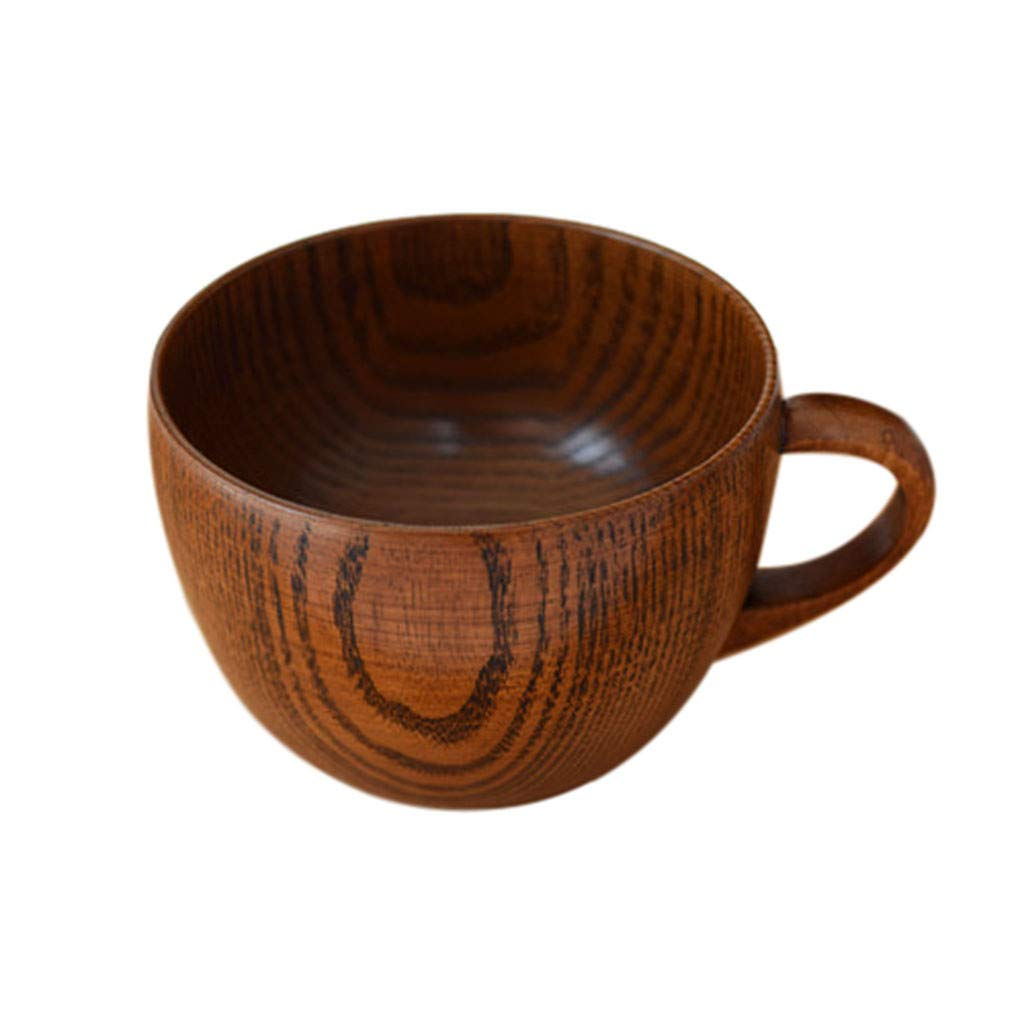 Wooden Coffee Cup Handmade Natural Eco-friendly Drinking Cup Unbreakable Water Mug with Handle for Home,Parties, Events, BBQ, Weddings (Brown)