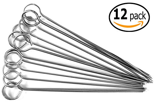 Barbecue Shish Kabab Ring-Tip Handle Skewers with Pan Scraper, Stainless Steel (12-Pack, 10 Inch) by MBW NW Brands