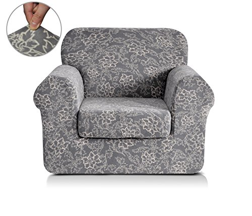 Chunyi 2 Piece Coral Fleece Spandex Fabric Polyester Sofa Slipcovers Chair Grey Printed