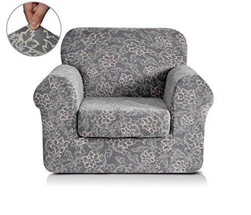 Chunyi 2-Piece Coral Fleece Spandex Fabric Polyester Sofa Slipcovers (Chair, Grey Printed)