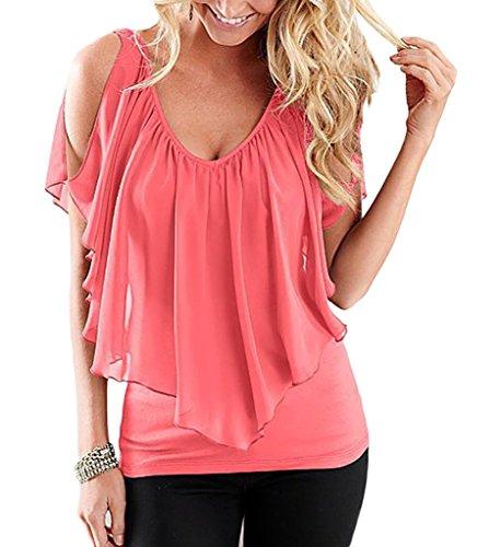 Nue Col Femme V de Epaule Chemise Blouse shirt Manches Courtes Orange T Smile YKK Mousseline Soie Top fwPIfqzE