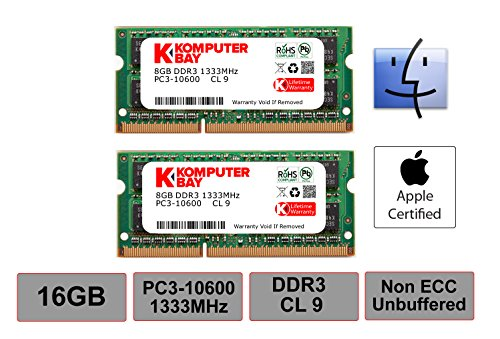 - Komputerbay 16GB Dual Channel Kit 2x 8GB 204pin DDR3-1333 SO-DIMM 1333/10600S ( 1333MHz, CL9 ) for MAC and PC