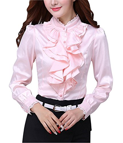 DPO Women's Chiffon Slim Ruffle Lace Founcing Front Shirt Long Sleeve Blouse (14, pink)