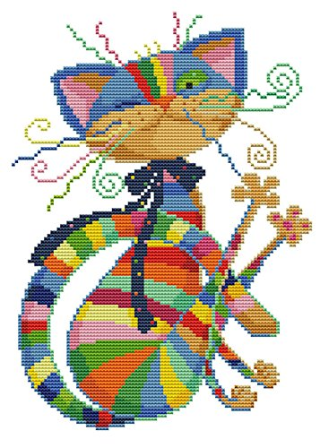 eGoodn Stamped Cross Stitch Kits Printed Pattern - Colorful Cat 11CT Fabric 12.6