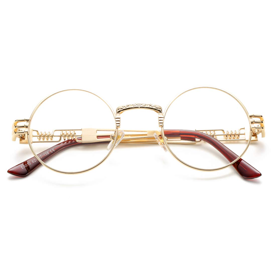 4f0cd03af8e Amazon.com  COASION Vintage Round John Lennon Sunglasses Steampunk Gold  Metal Frame Clear Sun Glasses (Gold Frame Clear Lens)  Shoes