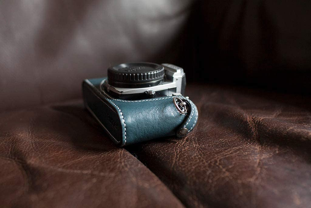 Handmade Genuine Real Leather Half Camera Case Bag Cover for Nikon FM2 FM FM2n FE FE2 Black
