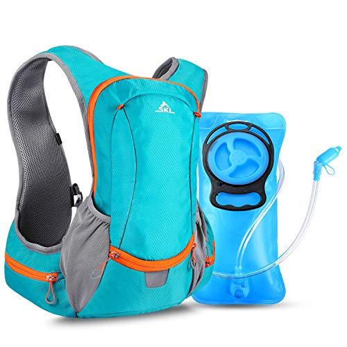 SKL Hydration Pack Water Backpack with Water Bladder 2L BPA Free Hydration Vest Backpack for Running Cycling Biking Hiking Climbing Skiing Hunting Pouch