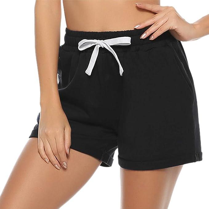 Hawiton Pantalones Cortos para Mujer Verano,pantal/ón Deporte de Algodon,el/ástica de Cintura Alta Short Pants con cord/ón y Bolsillos Pantalones Chandal para Yoga Gimnasio Fitness