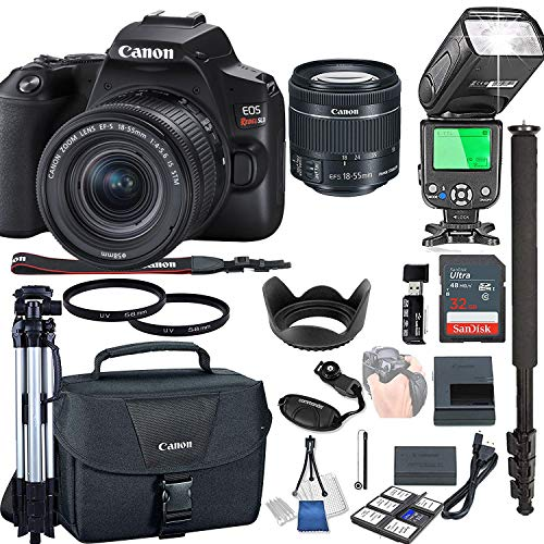 Canon EOS Rebel SL3 with 18-55mm f/4-5.6 is STM + 32GB Memory + Camera Bag + TTL Speed Light + Pro Filters (21pc Bundle)