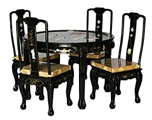 Black Lacquer Wooden Dining Room Set With Four Chairs Model 8309 XS BK