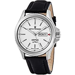 Revue Thommen Air Speed Pilot 42 MM Mens White Dial Black Leather Automatic Day Date Swiss Watch 16020.2532