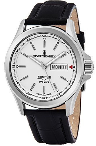 [Revue Thommen Air Speed Pilot 42 MM Mens White Dial Black Leather Automatic Day Date Swiss Watch 16020.2532] (Date Swiss Automatic Watch)