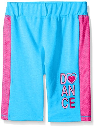 Dream Star Little Girls' French Terry Bermuda Short with Contrast Mesh Down Sides, Bright Blue, - Bright Shorts Terry