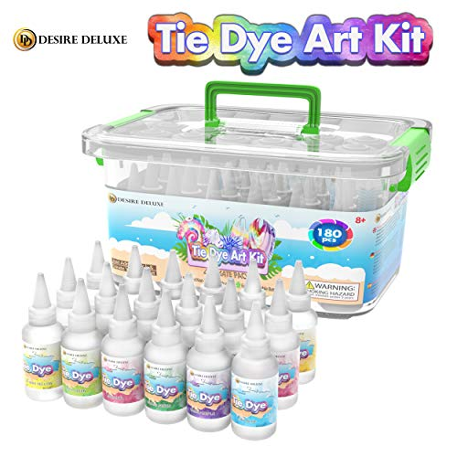 Desire Deluxe Tie Dye Kit – Set of 18 Colours Ink Tie-Dye Kits for Dyeing Fabric, Clothes – Creative Art Craft Games Activity for Kids & Adults