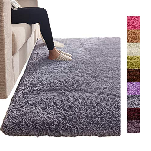 """Tatami Solid Color Rectangle Fluffy Shaggy Floor Mat, Thicken Carpet Floor Mat Home Living Bedside Kids Crawling Area Rug Grey 63""""x91"""""""