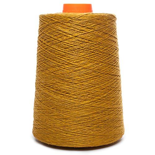 (Linen Yarn Cone - 100% Flax Linen - 1 LBS - Golden Ocher Color - 3 PLY - Sewing Weaving Crochet Embroidery - 3.000 Yard)