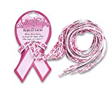 Breast Cancer Pink Ribbon Shoelaces - 56 inches (25 Cards with 2 Pairs of Shoe Laces)