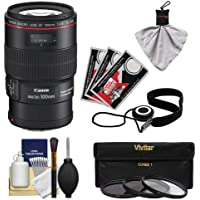 Canon EF 100mm f/2.8 L Macro IS USM Lens with 3 UV/CPL/ND8 Filters + Kit for EOS 6D, 70D, 7D, 5DS, 5D Mark II III, Rebel T3i, T5, T5i, T6i, T6s, SL1