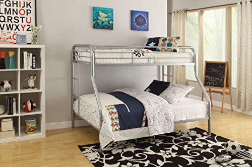 acme furniture 02052si tritan bunk bed twin x largequeen silver - Loft Bed Frame Queen