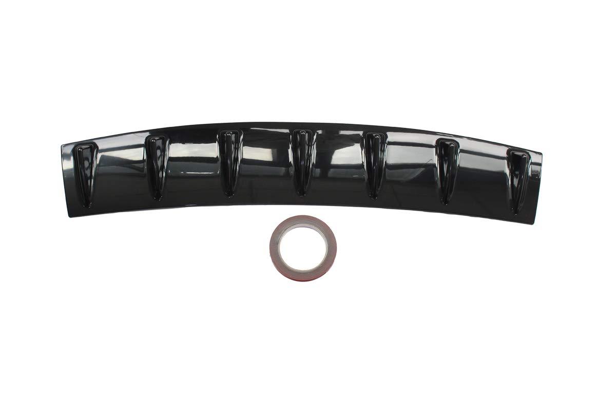 "MOTOKU Universal Rear Bumper Lip Diffuser Spoiler 7 Shark Fin Style Gloss Black ABS 33"" x 6"""