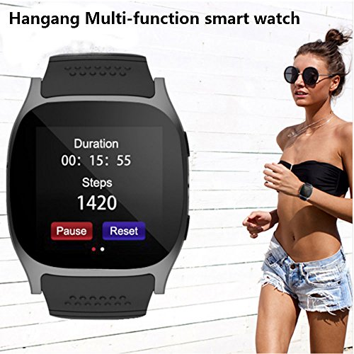 Hangang Bluetooth Smart Watch, TOP-MAX T8M Fitness Tracker Smartwatch with Pedometer Hands-free telephone for Android and IOS Smartphone (Black) by Hangang