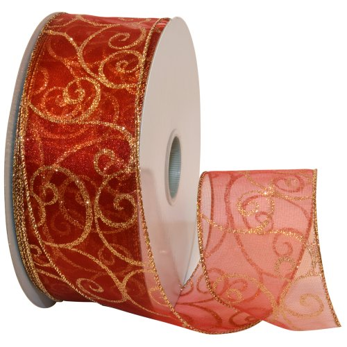 Morex Ribbon Swirl Wired Sheer Glitter Ribbon, 2-1/2-Inch by 50-Yard Spool, Red/Gold (Christmas Ribbon For Tree)